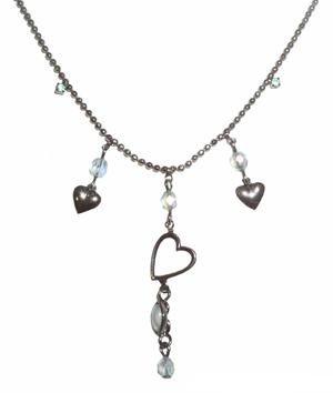 High Quality Swarovski Blue Crystal Hearts Necklace Choker Hand Made Czech