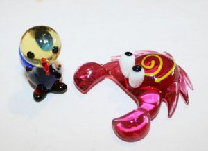 Czech Art Glass Free Form Hand Blown Made Funny Crab and Colorful Bird Figurines
