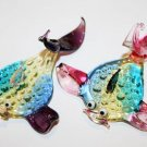 Czech Art Glass Crystal Free Form Hand Blown Made Fish Fishes MANTA RAY 2 PIECES