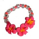Cute Hawaiian Hand Made Plumeria Frangipani Flower Stretch Ring Pink Yellow