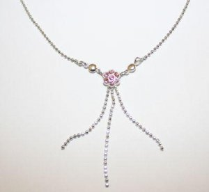Swarovski Pink Crystal Dainty Flower Necklace Choker Dangles Hand Made Czech