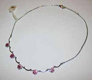 SALE! Swarovski Pink Crystal Dainty Flower Necklace Choker Hand Made Czech