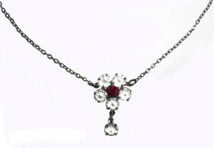 Swarovski Ruby Red Clear Crystal Dainty Flower Necklace Choker Hand Made Czech