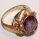 5.307 Grams 14K Yellow Gold Ring with Large Amethyst Gemstone, Scrap or Not