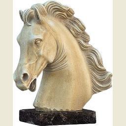 Parthenon Horse Head on Marble Base