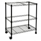 File Cart Two Tier Metal Rolling Mobile for Letter Size Office Supplies Black