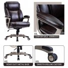 Champagne PU Leather Swivel Computer Desk Task Chair High Back Height Adjustable