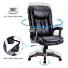 Black PU Leather Swivel Computer Chair High Back Office Spuulies Home Gaming