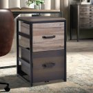 2 Drawers File Organizer Steel & MDF Walnut File Cabinet Home Office Filing