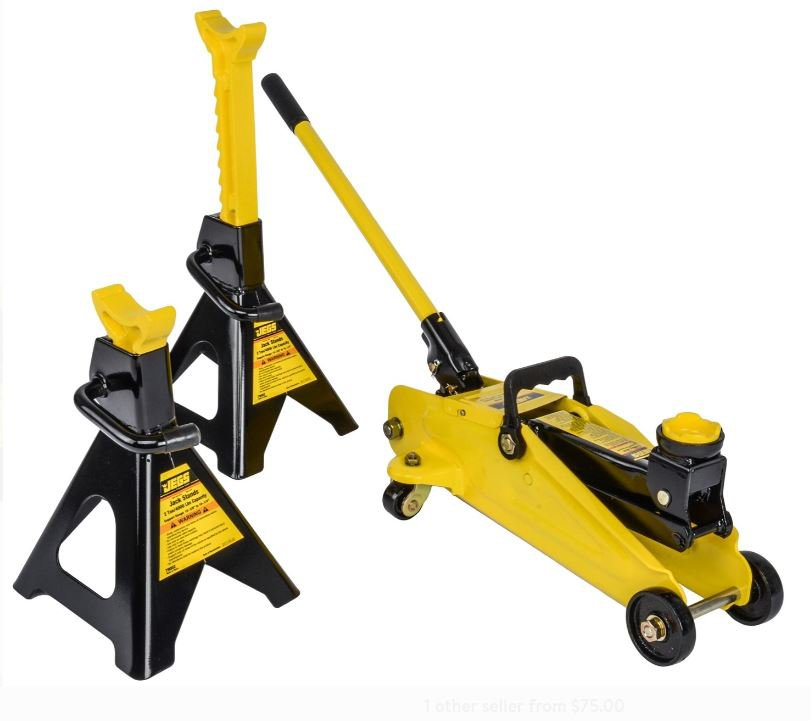 JEGS 79002 Hydraulic Utility Floor Jack & Stands Heavy Gauge Steel Frames