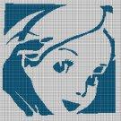 Alice face silhouette cross stitch pattern in pdf