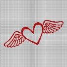 Angel symbol silhouette cross stitch pattern in pdf