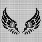 Angel wings silhouette cross stitch pattern in pdf