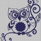 Art Owl silhouette cross stitch pattern in pdf