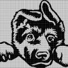 Baby german shepherd silhouette cross stitch pattern in pdf