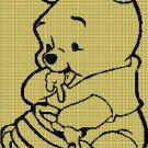 Baby Winnie the pooh silhouette cross stitch pattern in pdf