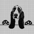 Basset hound silhouette cross stitch pattern in pdf