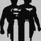 Batman and Superman silhouette cross stitch pattern in pdf