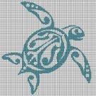 Blue turtle silhouette cross stitch pattern in pdf