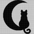 Cat on moon 2 silhouette cross stitch pattern in pdf