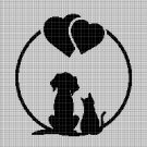 Cat-Dog love silhouette cross stitch pattern in pdf