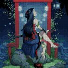 Chinese woman with sword DMC cross stitch pattern in pdf DMC