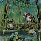 Frog and bird DMC cross stitch pattern in pdf DMC