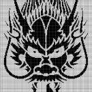 Chinese Dragon head silhouette cross stitch pattern in pdf