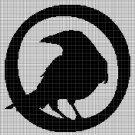 Crow silhouette cross stitch pattern in pdf