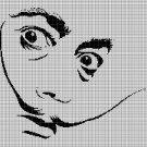 Dali face silhouette cross stitch pattern in pdf