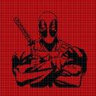 Deadpool silhouette cross stitch pattern in pdf