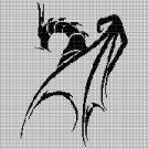 Black dragon silhouette cross stitch pattern in pdf