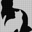 Cat in cat silhouette cross stitch pattern in pdf