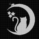 Cat on moon silhouette cross stitch pattern in pdf