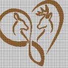 Deer heart silhouette cross stitch pattern in pdf