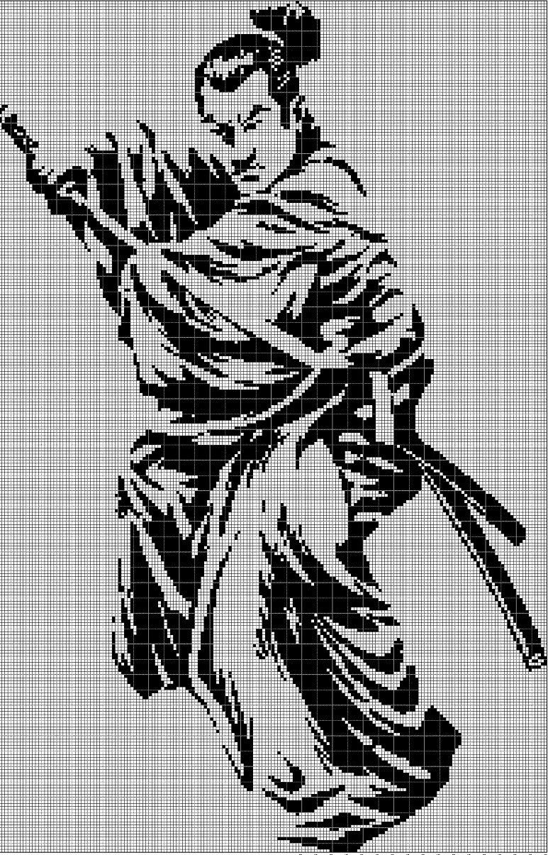 Samurai silhouette cross stitch pattern in pdf