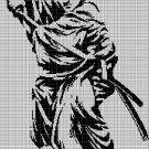 Samurai silhouette cross stitch pattern in pdf