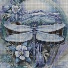 Dragonfly with flowers DMC cross stitch pattern in pdf DMC