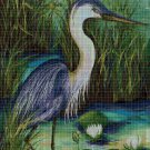 Heron in the reeds DMC cross stitch pattern in pdf DMC