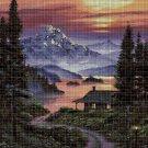 Landscape at dawn DMC cross stitch pattern in pdf DMC