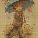 Little boy in the rain DMC cross stitch pattern in pdf DMC