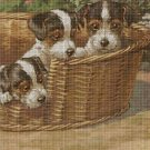 Puppies in the basket DMC cross stitch pattern in pdf DMC