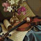 Still life with violin DMC cross stitch pattern in pdf DMC