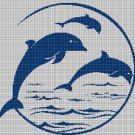Dolphins on the sea silhouette cross stitch pattern in pdf
