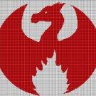 Dragon fire silhouette cross stitch pattern in pdf