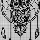 Dream catcher with owl silhouette cross stitch pattern in pdf