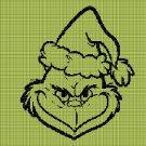 Grinch face silhouette cross stitch pattern in pdf