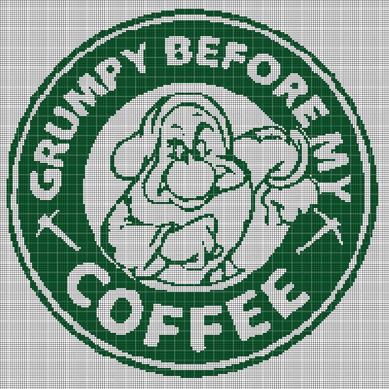 Grumpy coffee silhouette cross stitch pattern in pdf