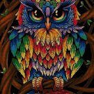Rainbow colored owl DMC cross stitch pattern in pdf DMC