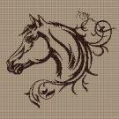 Horse head 2 silhouette cross stitch pattern in pdf